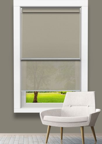 Blockout and Screen Double Roller - Affinity Macadamia - Solarscape Beige Grey