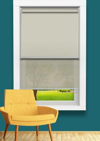 Blockout and Screen Double Roller - Affinity Vantage - Solarscape White Beige